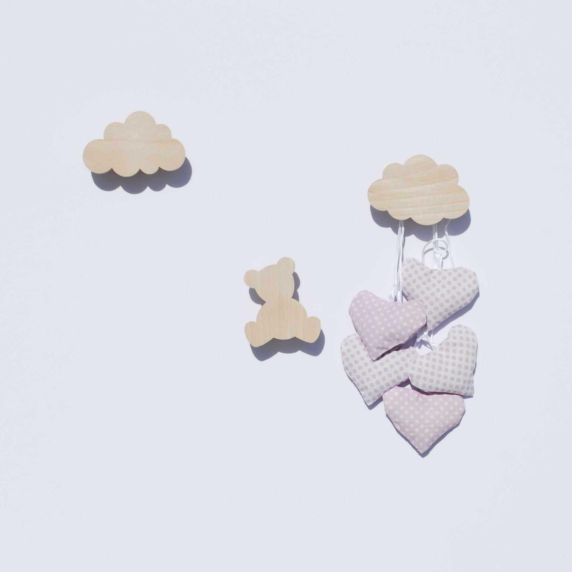 Patère enfant - Patère bois - ourson et nuages